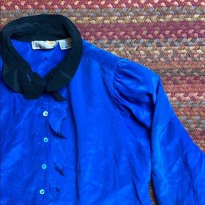 VINTAGE 80s COBALT BLUE SILK BUTTON UP